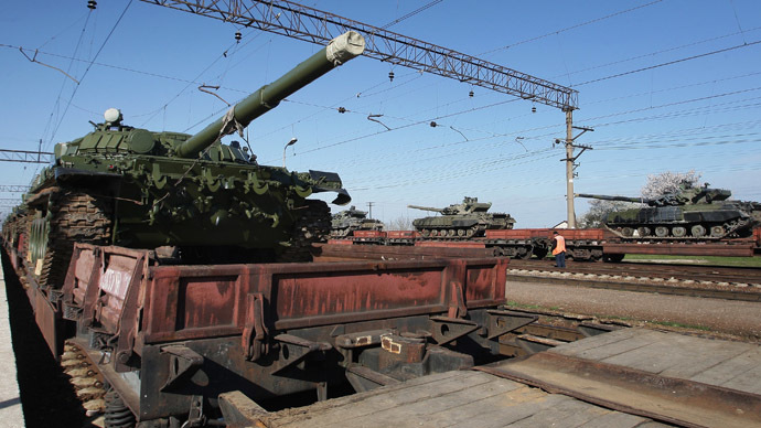 A lot of Russian military equipment has arrived at Ostryakovo railway station in Crimea. (RIA Novosti/Taras Litvinenko)