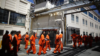 Inmates walk in San Quentin state prison in San Quentin, California (Reuters/Lucy Nicholson)