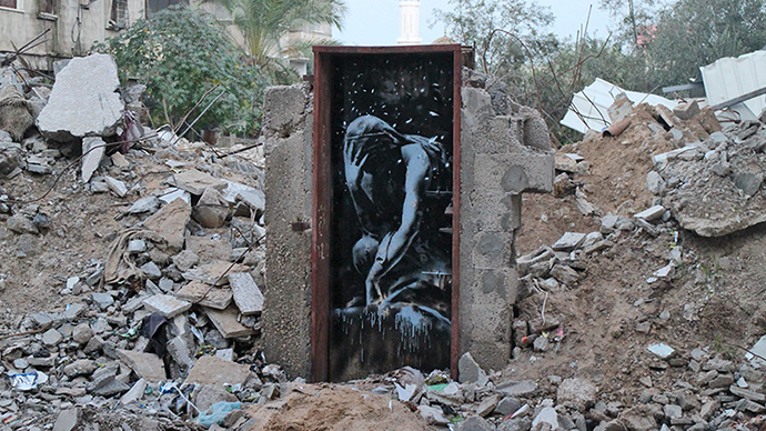 Bomb damage, Gaza City (Image from banksy.co.uk)