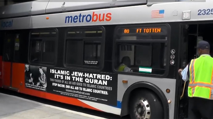 Ad on a Washington, DC bus.(Screenshot from Ruptly video)