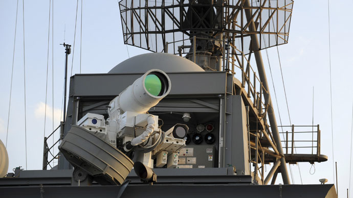 The laser weapon system (LaWS) is tested aboard the USS Ponce amphibious transport dock during an operational demonstration while deployed in the Gulf in this November 15, 2014 U.S. Navy handout photo provided December 11, 2014. (Reuters/John Williams/U.S. Navy)