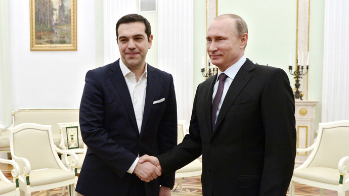 April 8, 2015. President Vladimir Putin, right, and Prime Minister of Greece Alexis Tsipras at a meeting at the Kremlin. (RIA Novosti/Aleksey Nikolskyi)