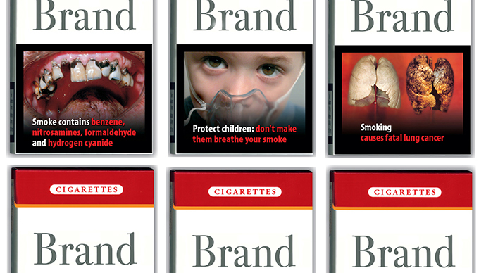 A combination picture shows packs of cigarettes, unveiled by European Health and Consumer Protection Commissioner David Byrne at a news conference in Brussels. (Reuters)