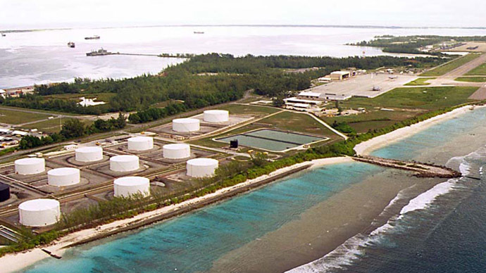 File photo of fuel tanks at the edge of a Military airstrip on Diego Garcia, largest island in the Chagos archipelago. (Reuters)