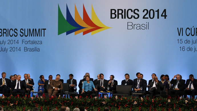 China's President Xi Jinping (R) delivers a speech during the VI BRICS Summit in Fortaleza July 15, 2014. (Reuters/Paulo Whitaker)