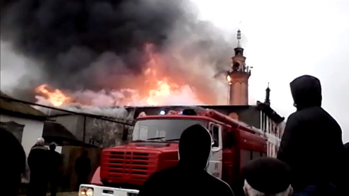 Massive blaze breaks out in mosque in southern Russia (VIDEO)