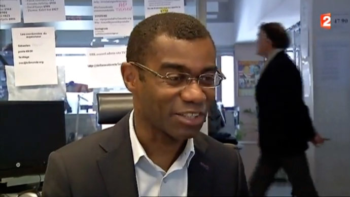 Screenshot from the interview with reporter David Delos, recorded by France 2.