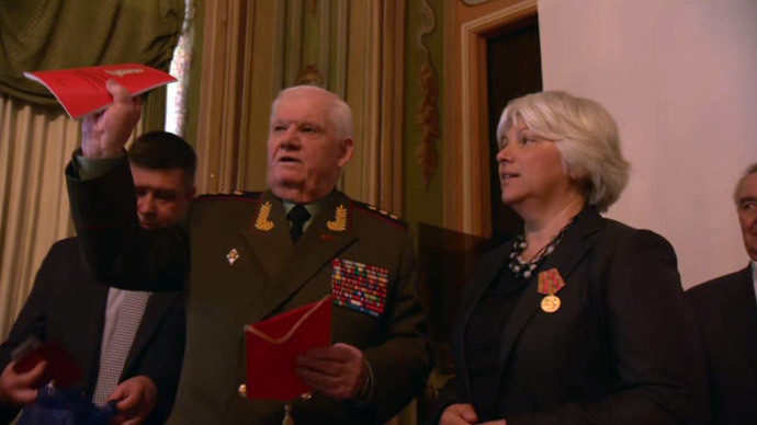 Colonel General Vladimir Grebenyuk, co-chairman of the Russian veterans' union, at an international conference in Ljubljana, Slovenia (RT video still)