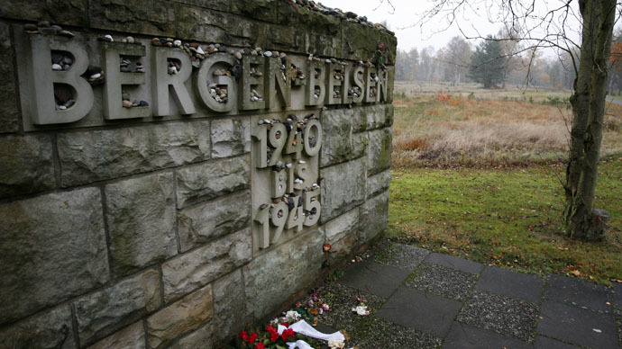 A memorial stone is pictured at the former Bergen-Belsen Nazi death camp, between Bremen and Hanover (Reuters/Christian Charisius)