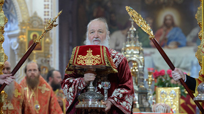 Patriarch of Moscow and All Russia Kirill during the Easter service at Christ the Savior Cathedral in Moscow. (RIA Novosti/Sergey Pyatokov)