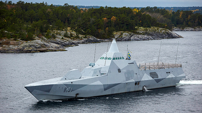 ARCHIVE PHOTO: Swedish corvette HMS Visby patrols the Stockholm Archipelago October 19 2014, searching for what the military says is a foreign threat in the waters (Reuters / Marko Savala)