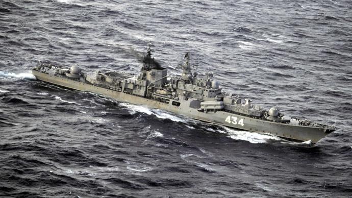 Large ASW ship Severomorsk in the Barents Sea, the Northern naval base in the Murmansk region.(RIA Novosti / Oleg Lastochkin)