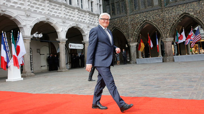 German Foreign Minister Frank-Walter Steinmeier arrives to make a statement at Luebeck City Hall, April 14, 2015. (Reuters / Fabrizio Bensch)