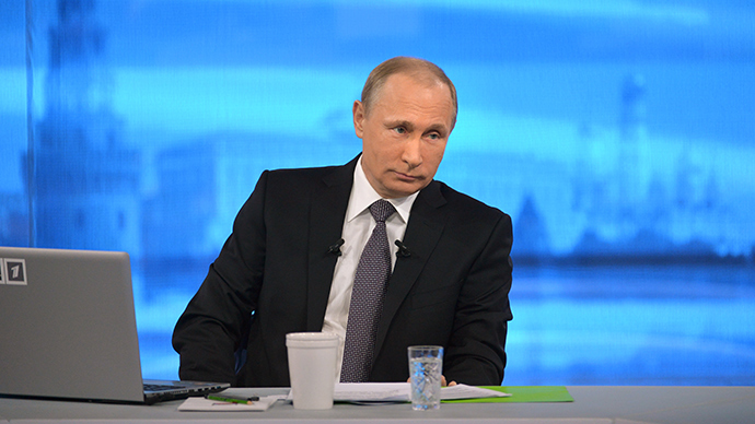April 16, 2015. Russian President Vladimir Putin answers questions from the public during the annual Direct Line with Vladimir Putin special broadcast live on Russian television and radio (RIA Novosti / Alexey Druzhinin)