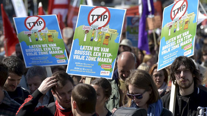 Consumer rights activists hold banners and flags as they protest against the Transatlantic Trade and Investment Partnership (TTIP) during a demonstration in Brussels, April 18, 2015.(Reuters / Eric Vidal)
