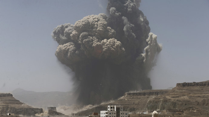 Smoke rises during an air strike on an army weapons depot on a mountain overlooking Yemen's capital Sanaa April 20, 2015. (Reuters/Khaled Abdullah)