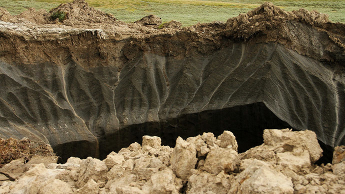 A view of a giant crater discovered in Yamalo-Nenets Autonomous Okrug.(RIA Novosti/Press-servis governor Yamal-Nene)