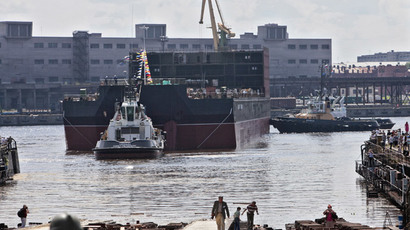 "Russian floating nuclear powerplant ""Academic Lomonosov"" under construction (RIA Novosti / Alexei Danichev)"