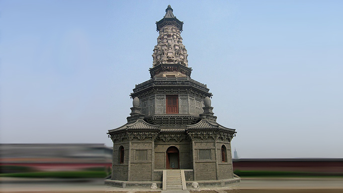 Photograph of the Hua Pagoda, Zhengding, Hebei Province, China (Image from wikipedia.org)