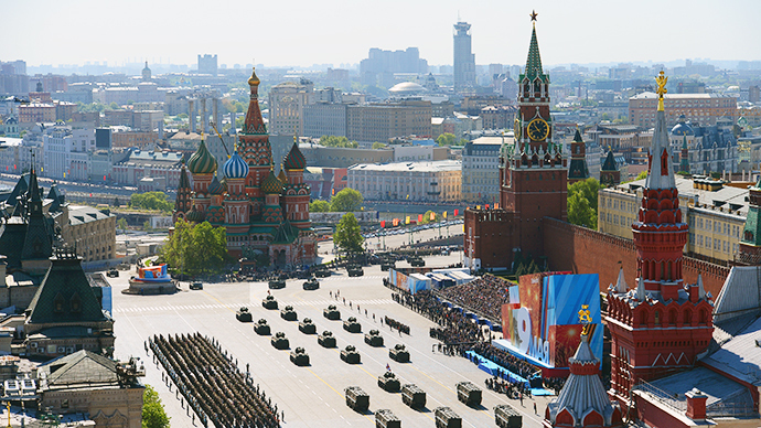 A view of Red Square during the procession of military vehicles at the parade devoted to the 69th anniversary of the victory in the Great Patriotic War (RIA Novosti / Alexander Vilf)