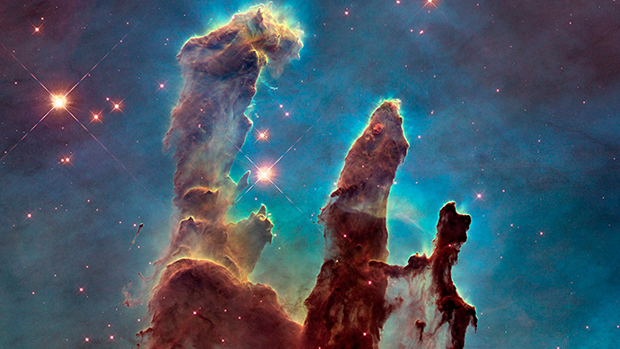 "A Hubble telescope photograph of the iconic Eagle Nebula's ""Pillars of Creation"" is seen in this NASA image released January 6, 2015 (Reuters / Hubble Heritage Team)"