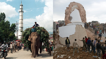 Nepalese mahout rides an elephant past the 19th century Dharahara Tower in Kathmandu on October 27, 1998 (L), and rescue members and onlookers gather at the base of the collpased tower following an earthquake in Kathmandu on April 25, 2015 (R). (AFP Photo / Devendra M Singh / Prakash Mathema / Files)