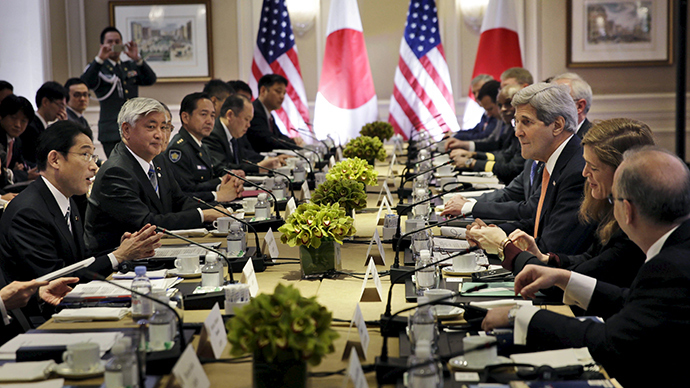 Japanese Foreign Minister Fumio Kishida (L) and Defense Minister Gen Nakatani (2nd L) attend a meeting with U.S. Secretary of State John Kerry (3rd R) and Secretary of Defense Ashton Carter (not pictured) in New York April 27, 2015 (Reuters / Seth Wenig)