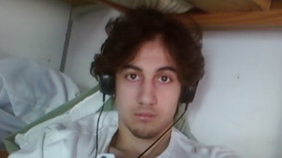 Dzhokhar Tsarnaev is pictured in this handout photo presented as evidence by the U.S. Attorney's Office in Boston, Massachusetts on March 23, 2015. (Reuters/U.S. Attorney's Office in Boston)