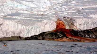 Blood Falls seeps from the end of the Taylor Glacier into Lake Bonney. (National Science Foundation / Peter Rejcek)