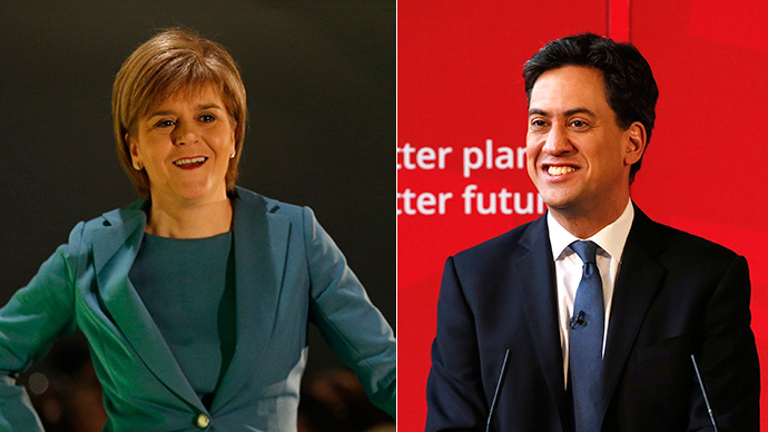 Nicola Sturgeon, the leader of the Scottish National Party (L) and Britain's opposition Labour Party leader Ed Miliband (Reuters)
