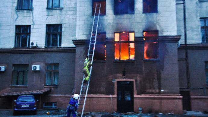 Fire at the Trade Union House in Odessa. (RIA Novosti/Maxim Voitenko/Odessa Media)