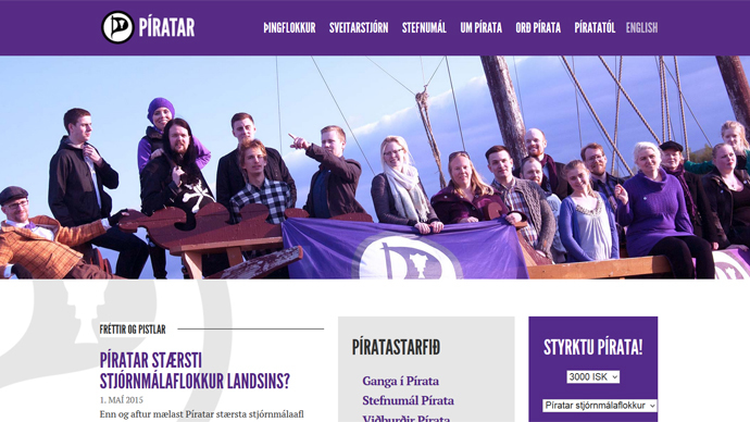 Screenshot from www.piratar.is