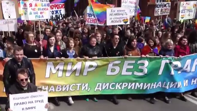 Gay pride march in St. Petersburg on May 1. (Ruptly video screenshot)