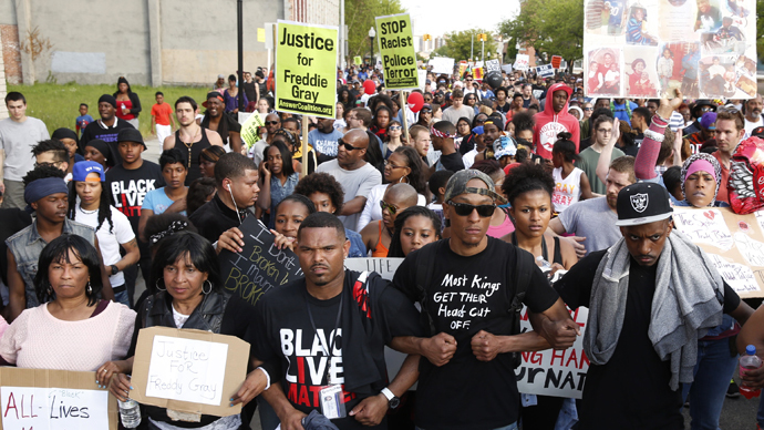 A large crowd takes part in a rally in Baltimore, Maryland May 2, 2015. (Reuters / Lucas Jackson)