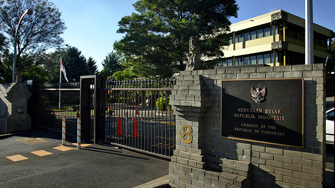 A street view of the front of the Indonesian Embassy in Canberra (Reuters)