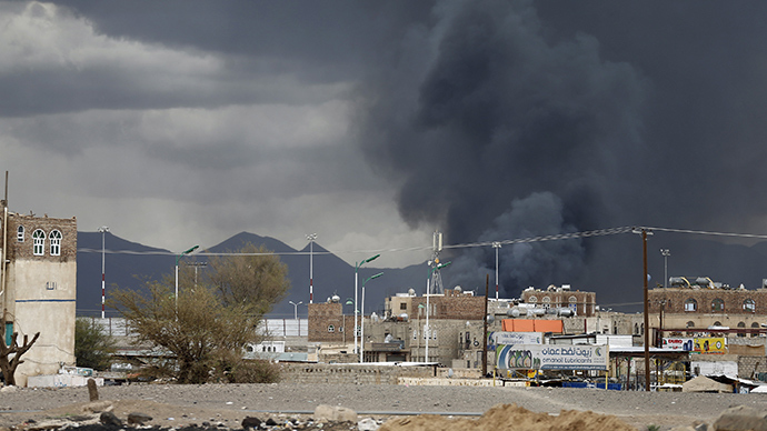 Smoke billows after an air strike hit the international airport of Yemen's capital Sanaa May 4, 2015 (Reuters / Khaled Abdullah)