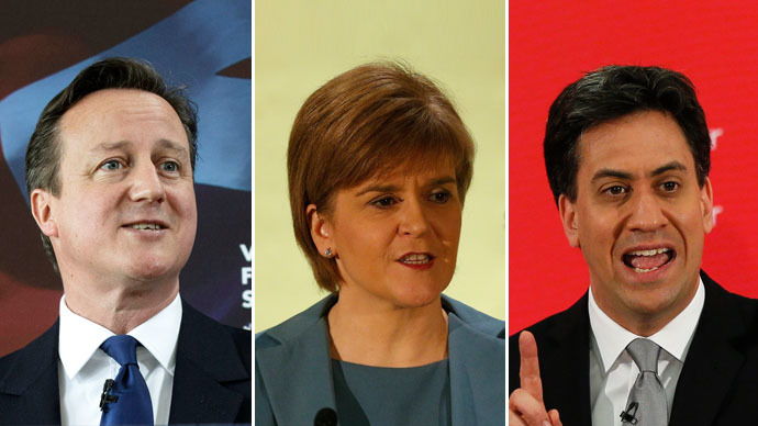 Britain's Prime Minister David Cameron (L), Nicola Sturgeon, the leader of the Scottish National Party (C), Britain's opposition Labour Party leader Ed Miliband (R) (Reuters)