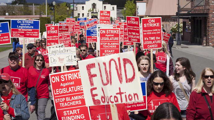 Washington teachers conduct rolling strike over lack of education funding