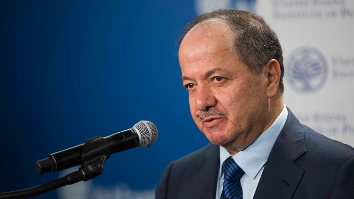 President of the Kurdistan region of Iraq, Masoud Barzani speaks at the Atlantic Council in Washington, DC, May 6, 2015.(AFP Photo / Jim Watson)