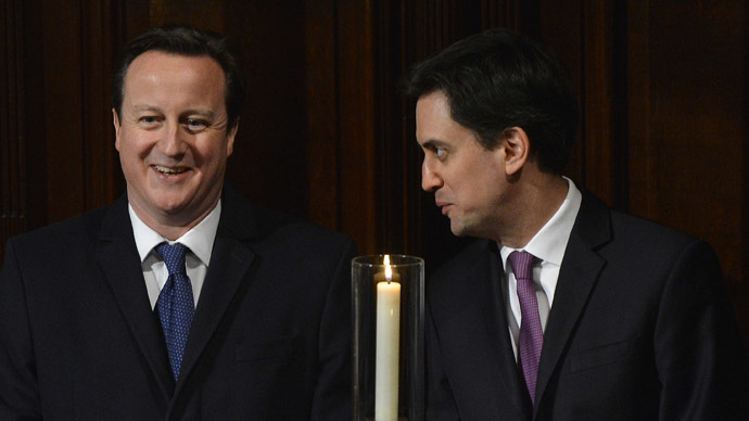 Britain's Prime Minister David Cameron (L) and leader of the opposition Labour Party Ed Miliband. (Reuters/Toby Melville)