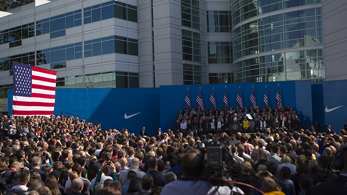 President Barack Obama speaks to Nike Employees and other Oregonians at Nike Headquarters May 8, 2015 in Beaverton, Oregon (AFP Photo / Getty Images)