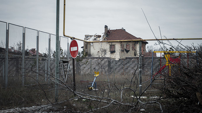 The town of Vesely near the new terminal of Donetsk airport destroyed by shelling. (RIA Novosti/Dan Levy)