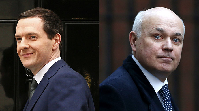 Britain's Chancellor of the Exchequer George Osborne and Secretary of State for Work and Pensions Iain Duncan Smith. (Reuters/Phil Noble/Suzanne Plunkett)