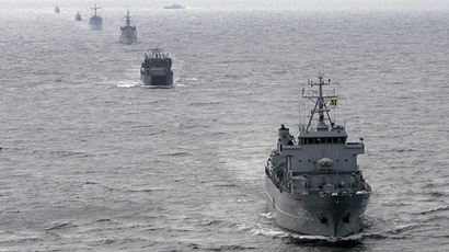 Navy ships from Latvia, Lithuania, Germany and Finland. (Reuters/Ints Kalnins)