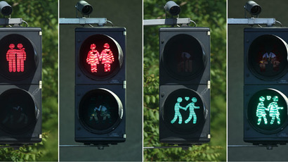 A combination of photos shows gay-themed traffic lights in Vienna May 11, 2015. (Reuters/Heinz-Peter Bader)