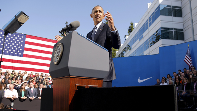 US  President Barack Obama delivers remarks on trade at Nike's corporate headquarters in Beaverton, Oregon May 8, 2015 (Reuters / Jonathan Ernst)