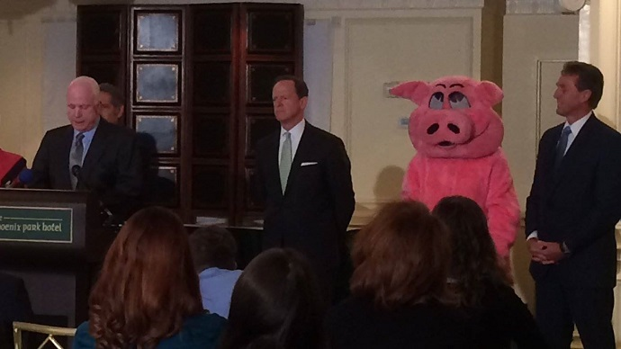 PigFoot joins Sens. John McCain (R-Ariz.), Pat Toomey (R-Penn.) and Jeff Flake (R-Ariz.) at the release of the 2015 Congressional Pig Book (facebook.com/CAGW)