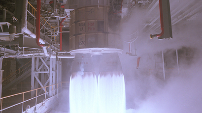 RD-180 test firing. (Image from Wikipedia/NASA)