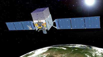 An artist's depiction of the Fermi Gamma-ray Space Telescope (FGST) in orbit. (Photo by NASA)