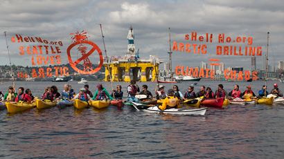 ShellNo flotilla protesters demonstrate in the Puget Sound against the arrival of the Shell Oil Company's drilling rig Polar Pioneer in Seattle, Washington (Reuters / Matt Mills McKnight)